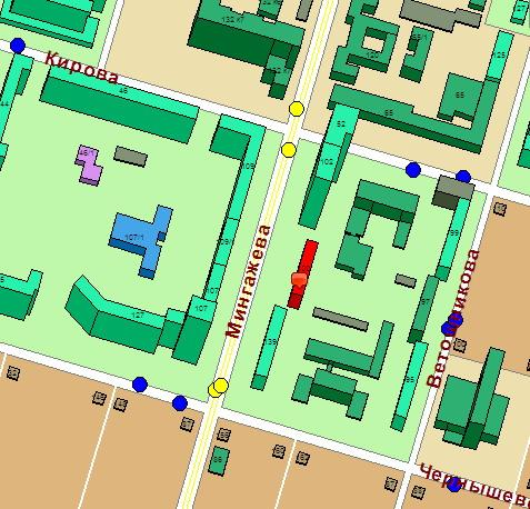 На схеме ХТФ выделен красным.  Остановочные пункты выделены жёлтыми (трамвай) и синими (автобусы и маршрутки) кружками.